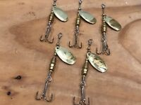 Five Gold Handcrafted Inline Spinner Lures (Freshwater)