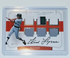 FRED LYNN 2017 NATIONAL TREASURES 6 PIECE 3 COL JERSEY RELIC AUTO ON CARD #D /25