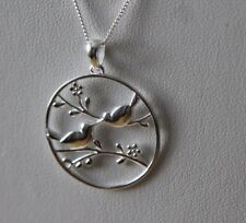 Sterling silver Love Birds Pendant Necklace by Lepos Jewellery