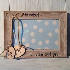 Wedding Engagement Personalised Photo Frame 5 x 7 Hearts shabby distressed look