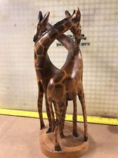 African Handcarved Single Piece Of Wood Giraffes 1960's
