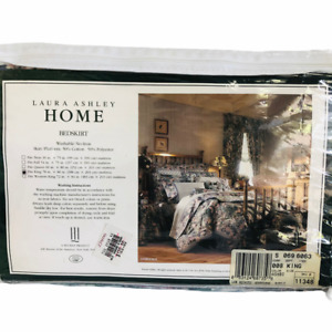 "NEW Vintage Laura Ashley Hydrangea Floral King Ruffle Bed Skirt Ashbourne 14"""