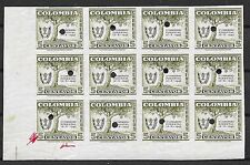 Colombia stamps 1949 MI 553 PROOF Bloc of 12 stamps  MNH  VF