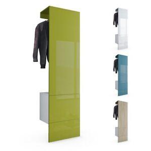 Garderobe Garderobenset Flur Diele Carlton Set 5 in Weiß - Hochglanz & Naturtöne