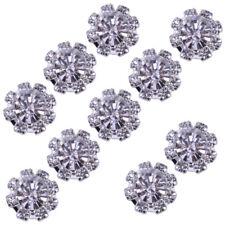 10tlg Kristall Diamante Perle Brosche Knopf DIY Braut Hochzeit Blumenstrauß