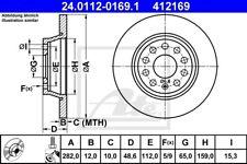 2x ATE Bremsscheibe 24.0112-0169.1 für VW AUDI SEAT SKODA Q3 A3 PASSAT GOLF EOS