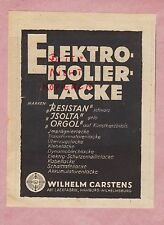Hamburg, advertising 1942, Wilhelm CARSTENS Electrical Insulating Paints Paint Factory