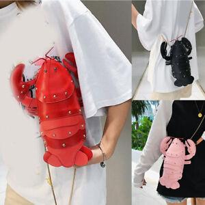 Cartoon Lobster Shoulder Bag Womens PU Leather Rivet Chain Crossbody Handbag UK