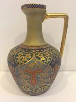Anton Mehlem Antique Royal Bonn Cashmir Miniature Pitcher Vase c. 1860s 6.5""
