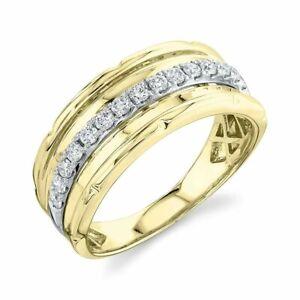 Mens 14K Yellow Gold Diamond Wedding Band Ring Round Cut Natural Size 10