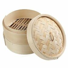 2 Tier 8 Inch Bamboo Steamer Dim Sum Basket Rice Pasta Cooker Set With Lid D3t7