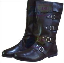 Medieval Leather Shoe Brown High Quality 4 Buckle