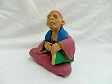 "Egyptian Real Life Clay Figurine Collectible HandMade Man Playing Drum Tabla 5"""