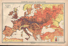 1936 MAP ~ EUROPE DENSITY OF POPULATION BRITISH ISLES FRANCE GERMANY ITALY