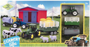 Counrylife 13 Piece Farm Playset Includes Tractor & Trailer & Barn + More