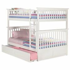 Atlantic Furniture Columbia Full Over Full Trundle Bunk Bed in White