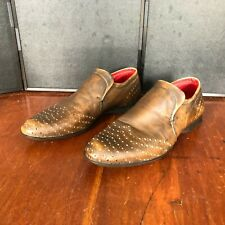 Bacco Bucci Men Brown distress Leather Slip On Shoes Made Italy great condition