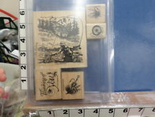 Stampin Up! Fly Fishing set reel flies fisherman river camping   RUBBER STAMP 5I
