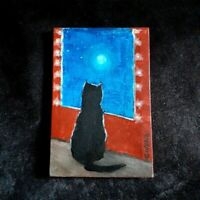 Black Cat Original Miniature 6 in x 4 in acrylic painting on canvas Gulchik