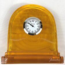 ❤️New Baccarat France Amber Crystal Desk Clock Table Basket of Abundance GENUINE