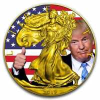 2019 Donald Trump Thumbs Up - American Eagle 1oz .999 Colourised Silver Coin