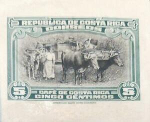 O) 1945 COSTA RICA, DIE PROOF, COFFEE HARVESTING,BUOYING,OXES, XF