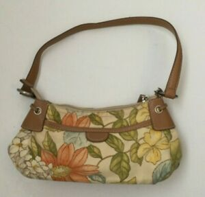 Fossil Purse Floral Pastel Blue Pink Cream Fabric Faux Brown Leather Trim