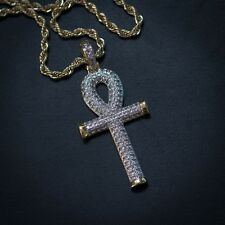 Men's 14k Gold Plated Ankh Cross Pendant Charm Necklace with Lab Diamonds