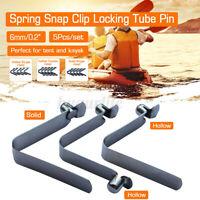 5 Stainless Steel Paddle Tent Pole Push Button Spring Snap Clip Locking Tub