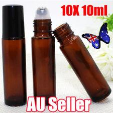 10 10ml Amber Glass Bottles Roller Rollerball Perfume Essential Oil Roll on Ball