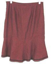 Ann Taylor Loft Skirt Sz 8 Red Black Check Wool Blend Velvet Trim $69 NWT Womens