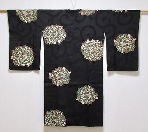 JAPANESE KIMONO SILK ANTIQUE HAORI COAT / OMESHI / CHRYSANTHEMUM / VINTAGE
