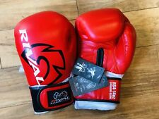 New Rival Leather Classic Sparring Boxing Gloves Red 14oz