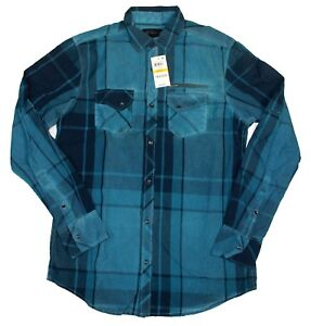 INC Women's Plaid Snap Button-up Pockets 100% Cotton Shirt, Washed Turquoise, S