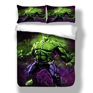 3D Hulk Superhero All Sizes Doona Quilt Duvet Covers Set Bedding Set Queen/King