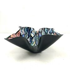 MARKED Barbara Cahn HAND MADE PORCELIAN ? Bowl Black Pink Multicolor