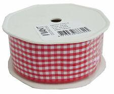 2159 2038 Small Check Gingham Vivant Ribbon 38mm x 1m Red