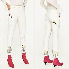 Zara White High Waist Slim Boyfriend Embroidery Jeans Size 6 UK US 2 Blogger ❤
