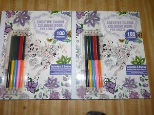CREATIVE CHARM Coloring Book Adults ~ 100 DESIGNS W/ 5 Bonus Pencils LOT of TWO