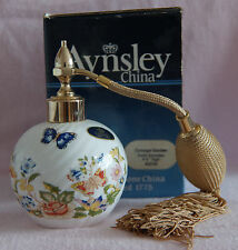 AYNSLEY ENGLAND COTTAGE GARDEN SWIRL ATOMISER BONE CHINA BUTTERFLY FLOWERS BOXED