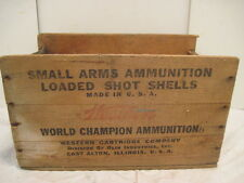 WOOD-WOODEN WESTERN WORLD CHAMPION AMMUNITION SMALL ARMS CRATE BOX ADVERTISING