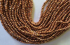 "13.5"" STRAND 3.5MM FACETED COPPER COATED PYRITE RONDELLE BEADS"