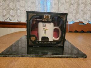 """Golf Mug Set """"Time For Tee"""" Cup Mug Gift Set NIB"""