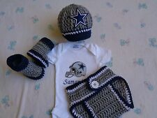 Crochet Dallas Cowboys Baby Hat, Diaper Cover, Booties, Personalized Bodysuit