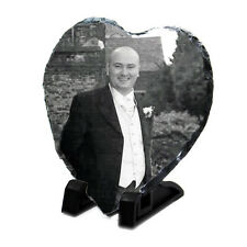 Heart Memorial Photo Rock Slate - Personalised Plaque & Stand -  Have any Image