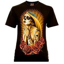 Rock Eagle Praying Madonna santa muerte señores t-shirt negra Catrina calavera