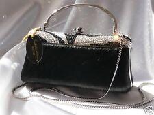 Evening Bag with Swarovski Crystals Clutch Handbag-Black/Silver-Isabella Adams