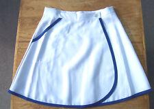 Retro Mini Skirt - Small - White with Blue Trim 1990's Wrapover 1950/60's style