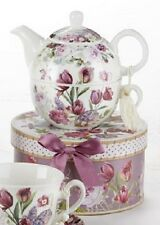 Delton Porcelain Tea for One Gift Set  Stacked Teapot & Cup  TULIP