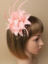 5863 Light Coral Flower Feather Fascinator Pearls Clip Brooch Pin Wedding Races